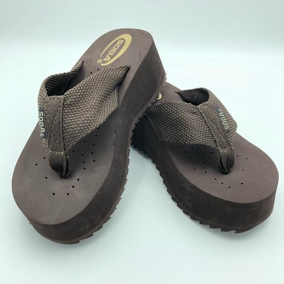Brown Soda Platform Flip Flop Sandals